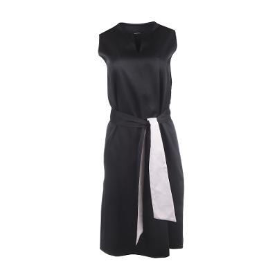 satin sleeveless dress with bicolor belt black